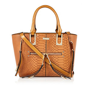 Camel brown snake winged tote handbag