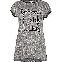 Grey marl slogan print t-shirt
