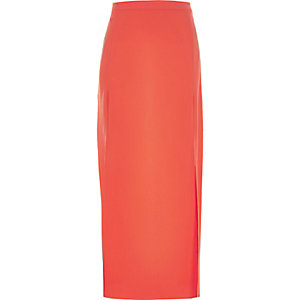 Orange side split maxi skirt