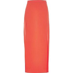 Orange side split maxi skirt