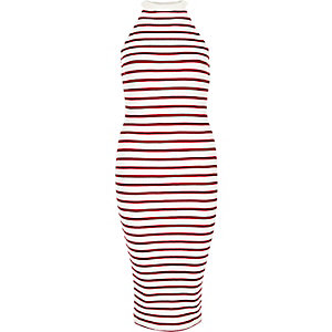 Red stripe ribbed bodycon midi dress