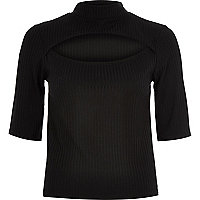 Black ribbed cut out front top