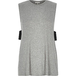 Grey side tab tank top
