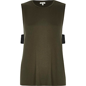 Khaki side tab tank top