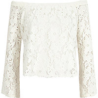 Cream lace long sleeve bardot top