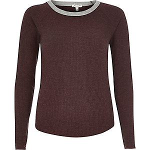 Dark red ribbed raglan long sleeve top