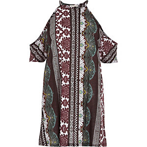 Red tile print cold shoulder tunic