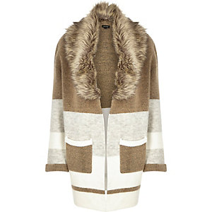 Camel slouchy faux-fur trim knitted jacket