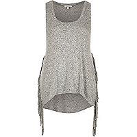 Grey marl fringed side vest