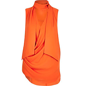 Bright orange pussybow sleeveless top