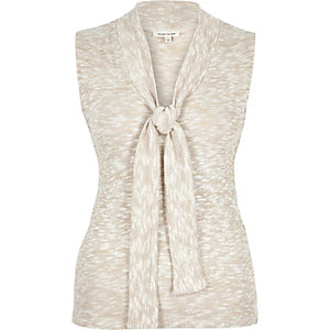 Cream metallic pussybow sleeveless top