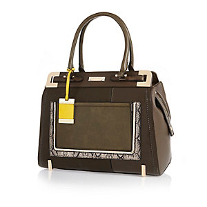 Khaki structured tote handbag