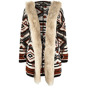 Rust brown jacquard faux fur trim jacket