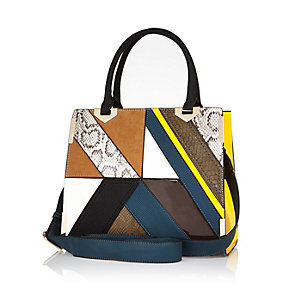 Brown patchwork tote handbag