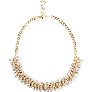 Gold tone sparkle bobble necklace