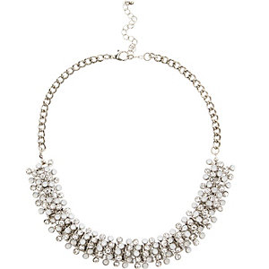 Silver tone sparkle bobble necklace