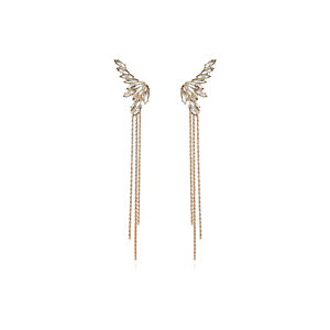 Gold tone gem drape chain earrings