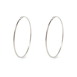 Silver tone oversized hoop earrings