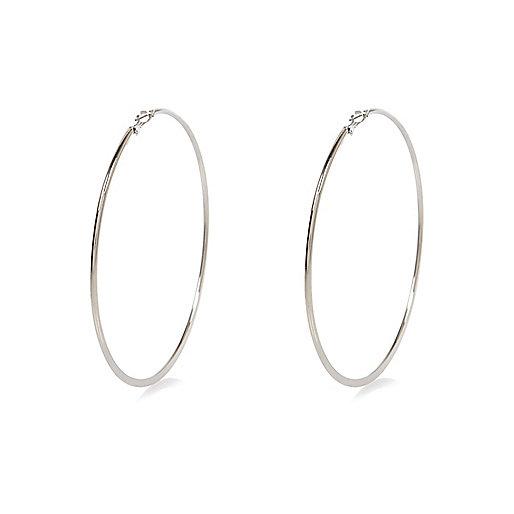 Silver tone oversized hoop earrings