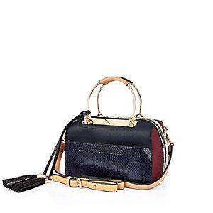 Blue metal frame bowler handbag