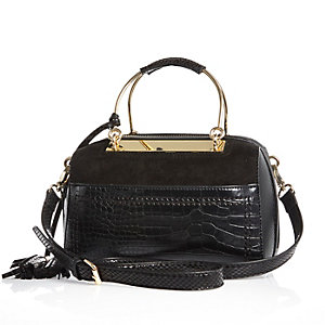Black metal frame bowler handbag