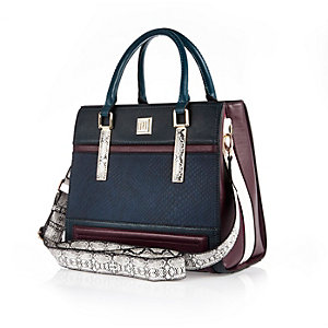 Dark blue panelled structured tote handbag