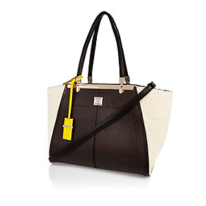 Dark brown winged tote bag