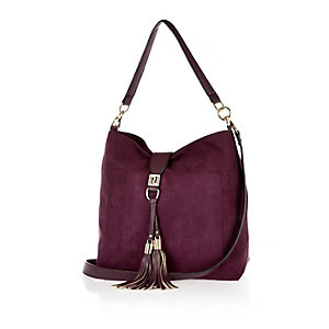 Dark purple tassel front faux-suede handbag