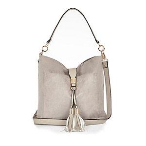 Grey tassel front faux-suede slouchy handbag
