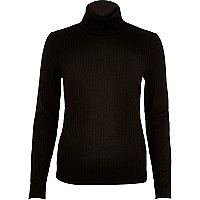 Black ribbed roll neck