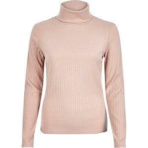 Light pink ribbed roll neck
