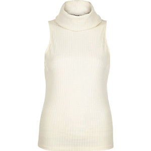 Cream ribbed cowl neck sleeveless top