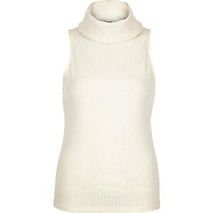 Cream ribbed cowl neck sleeveless top