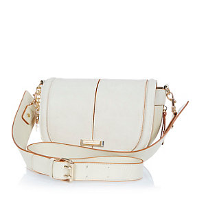 Cream zip side saddle handbag