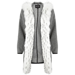 Grey faux-fur trim jersey jacket