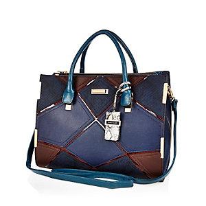 Dark blue patchwork tote handbag