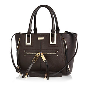 Dark brown winged mini tote handbag