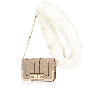 Beige quilted faux-fur strap handbag