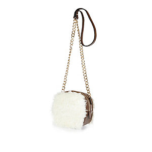 Cream faux-fur box cross body handbag