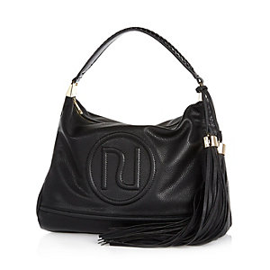Black RI stitched slouchy handbag