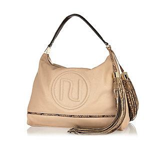 Beige RI stitched slouchy handbag