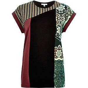 Red colour block print oversized t-shirt