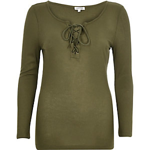 Khaki ribbed tie front top
