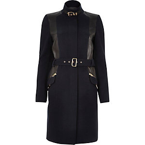 Navy structured belted military coat