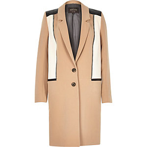 Light camel zip front crombie coat