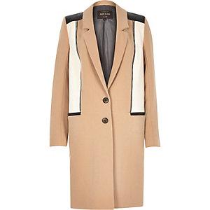 Light camel zip front crombie coat