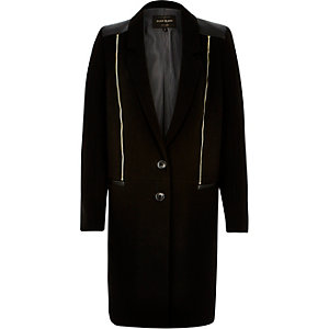 Black zip front crombie coat