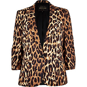 Brown leopard print structured blazer