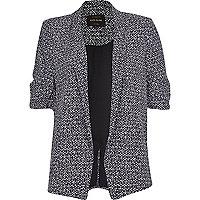 Black print ruched sleeve blazer