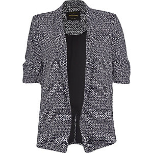 Black print ruched sleeve blazer